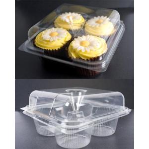 Plastic Hinged Cupcake Box - 4 Cavity