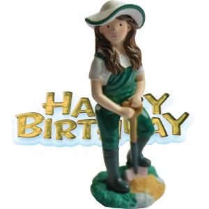 Anniversary House Cake Decoration - Happy Birthday Female Gardener