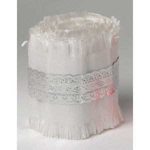 Culpitt Cake Frill - White with Silver Lace Foil Band - 22m