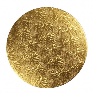 """Double Thick Turned Edge Cake Card - Round - Gold - 8"""""""