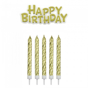 PME Candles - Happy Birthday Candle & Motto Set: Gold
