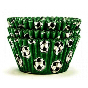 Design A Cake Baking Cases - Football - Green (Pack of 36)