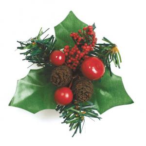 Culpitt Decoration - Christmas Holly, Berries & Fir Cone Spray