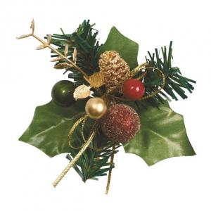 Culpitt Decoration - Christmas Holly, Baubles & Fir Cone Spray (Pack of 50)