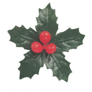 Culpitt Decoration - 5 leaf Holly & Berries - 70mm (Pack of 50)