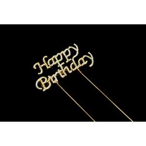 Diamante Designs Pick - Happy Birthday - Small - Gold