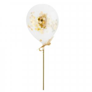 Hootyballoo Mini Confetti Balloon Wands - Gold (Pack of 5)
