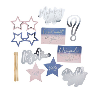 Hootyballoo Gender Reveal Photo Booth Props (Pack of 10)