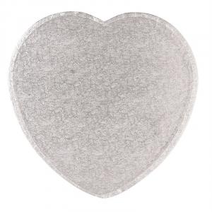"Cake Board Drum - Heart - Silver - 14"""