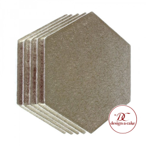 """Cake Board Drum - Hexagon - Silver - 8"""" (Pack of 5)"""
