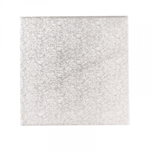 """Double Thick Turned Edge Cake Card - Square - Silver - Individually Wrapped - 10"""""""