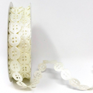 Bertie's Bows Embossed Cut-Out Trim - Buttons - Ivory - 15mm