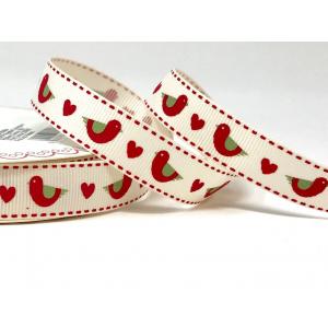 Bertie's Bows Patterned Ribbon - Folk Birds & Hearts - Red - 16mm