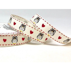 Bertie's Bows Patterned Ribbon - Owls & Hearts - Ivory/Red - 16mm