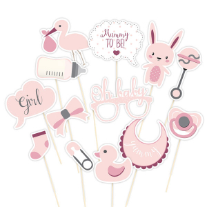 Club Green Photo Booth Props - Pink (Pack of 13)