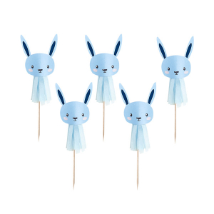 Club Green Cake Picks - Bunny Tassel - Blue (Pack of 6)