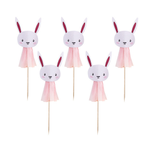Club Green Cake Picks - Bunny Tassel - Pink (Pack of 6)
