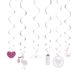 Club Green Oh Baby Hanging Swirl Decorations - Pink (Pack of 6)