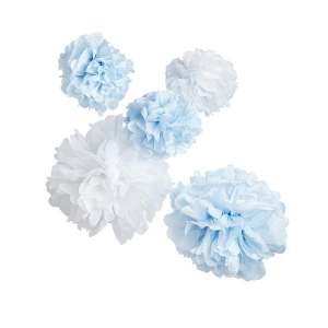 Club Green Hanging Pom Poms - Blue & White (Pack of 5)