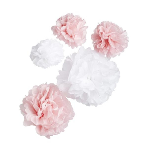 Club Green Hanging Pom Poms - Pink & White (Pack of 5)