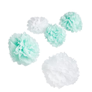 Club Green Hanging Pom Poms - Mint & White (Pack of 5)
