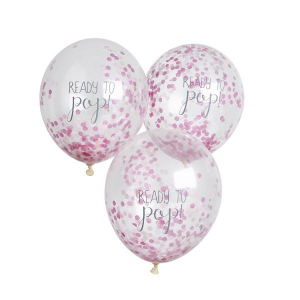 Club Green Ready To Pop! Confetti Balloons Pink (Pack of 5)