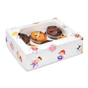 Club Green Cupcake Box - 6 Cavity - Kiddies (Pack of 2)