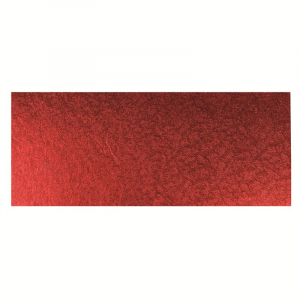 """Single Thick Turned Edge Cake Card - Oblong / Log - Red - 12"""" x 5"""""""