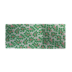 """Single Thick Turned Edge Cake Card - Oblong / Log - Silver & Green Holly - 12"""" x 5"""""""