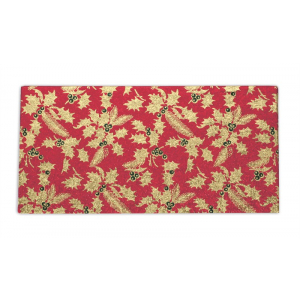 """Single Thick Turned Edge Cake Card - Oblong / Log - Red & Gold Holly - 8"""" x 4"""""""