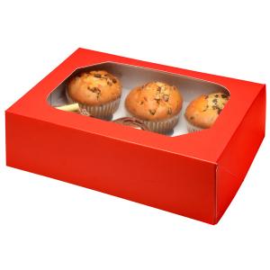 Club Green Cupcake Box - 6 Cavity - Glossy Red