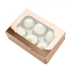 Club Green Cupcake Box - 6 Cavity - Metallic Rose Quartz