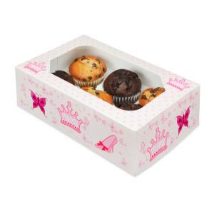 Club Green Cupcake Box - 6 Cavity - Princess (Pack of 2)