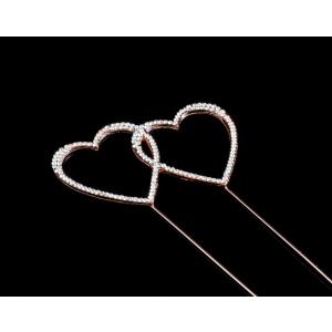 Diamante Designs Pick - Double Heart - Medium - Rose Gold