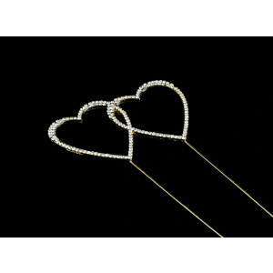 Diamante Designs Pick - Double Heart - Medium - Gold