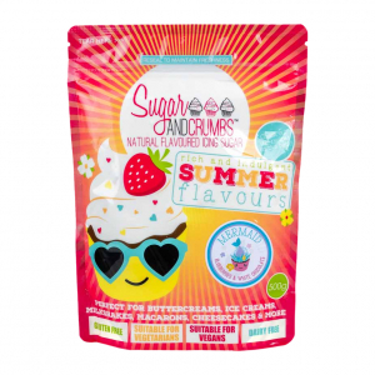 "Sugar & Crumbs Natural Flavoured Icing Sugar - ""Mermaid"" Blueberry & White Chocolate (500g)"