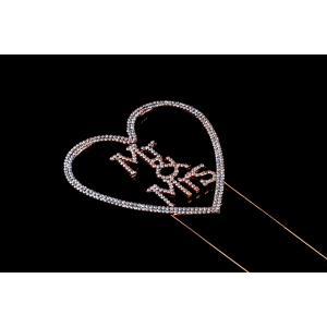 Diamante Designs Pick - Mr & Mrs Heart - Rose Gold