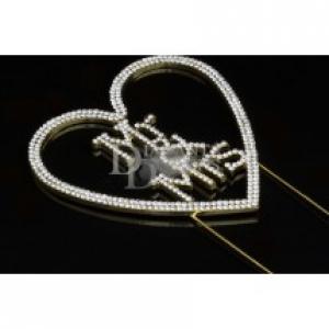 Diamante Designs Pick - Mr & Mrs Heart - Gold