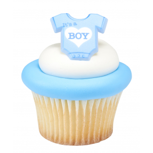 DecoPac Cake Ring Decoration - It's A Boy Onesie - Blue (Pack of 72)