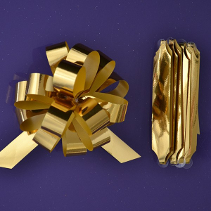 Purple Cupcakes Quick Pull Bow - Metallic Gold