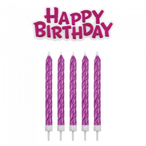 PME Candles - Happy Birthday Candle & Motto Set: Pink