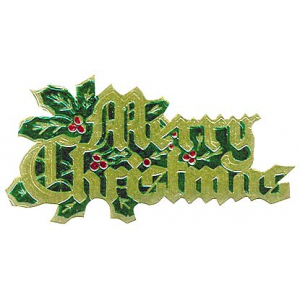 Culpitt Decoration / Paper Motto - Merry Christmas with Holly - Red, Gold & Green (Pack of 100)
