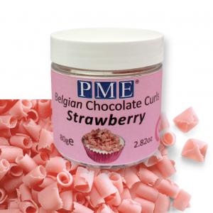 PME Belgian Chocolate Curls - Strawberry (85g)