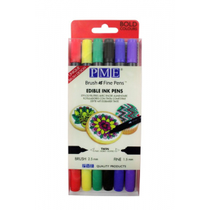 PME Brush n Fine Pens - Bold Colours (Pack of 6)