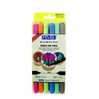 PME Brush n Fine Pens - Bright Colours (Pack of 6)