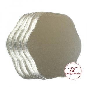 "Cake Board Drum - Petal - Silver - 10"" (Pack of 5)"