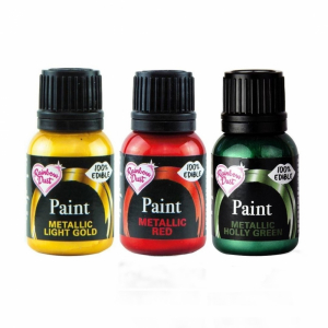 Rainbow Metallic Food Paint Collection - Light Gold, Holly Green & Red (3 x 25g)