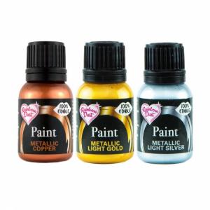Rainbow Metallic Food Paint Collection - Light Gold, Light Silver & Copper (3 x 25g)
