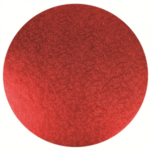 """Double Thick Turned Edge Cake Card - Round - Red - 10"""""""