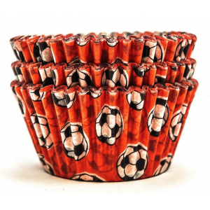 Design A Cake Baking Cases - Football - Red (Pack of 36)